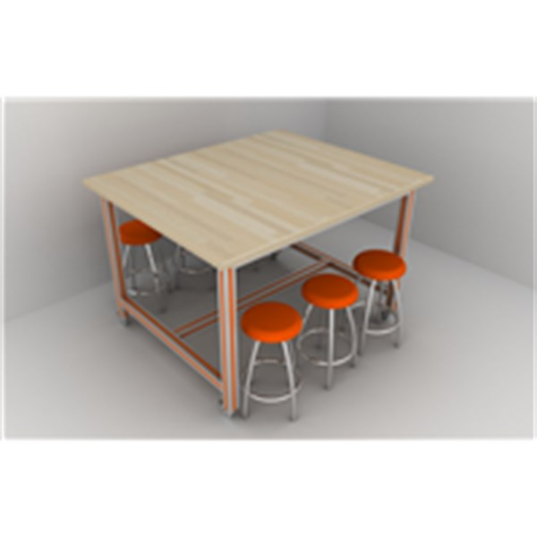 REFSAN SOLID WOOD TABLE WITH ALUMINIUM CHASIS (100*120*80 CM)
