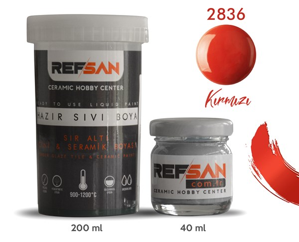 REFSAN READY TO USE CERAMIC PAINT 2836 GLOSSY RED