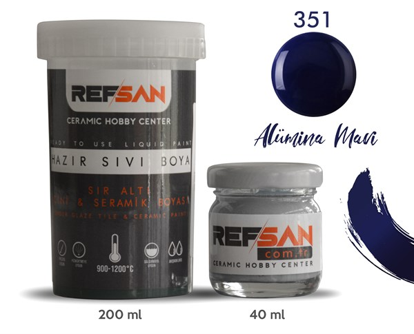 REFSAN READY TO USE CERAMIC PAINT 351 ALUMINA BLUE