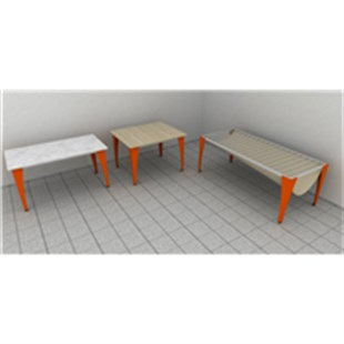 WOODEN TABLE DEMOUNTED PEDESTALS (100*120*80 CM)